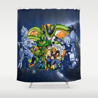 saga Shower Curtains featuring DBZ - Cell Saga by Mr. Stonebanks