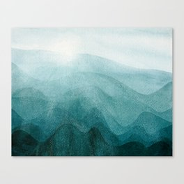 Sunrise in the mountains, dawn, teal, abstract watercolor Canvas Print