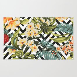 Flowered Chevron Rug