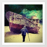 ship Art Prints featuring Ship by Cs025
