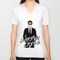 darren criss V-neck T-shirts featuring Pink Darren Criss by byebyesally