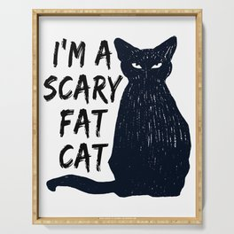 Scary Halloween Black Cat print Serving Tray
