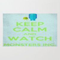 monsters inc Area & Throw Rugs featuring Keep Calm and Watch Monsters Inc. by MeMRB