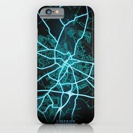 Limerick, Ireland, Blue, White, Neon, Glow, City, Map iPhone Case
