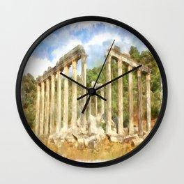 Euromos Ruins Watercolor Wall Clock