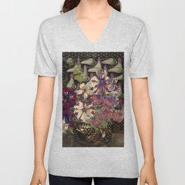 "Charles Rennie Mackintosh ""Petunias"" Unisex V-Neck"