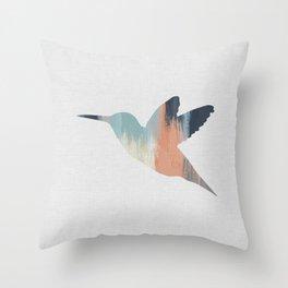 Pastel Hummingbird Throw Pillow