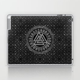 Silver Metallic Valknut Symbol on Celtic Pattern Laptop & iPad Skin