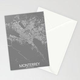Monterrey, Nuevo León, México, Grey, City, Map Stationery Cards