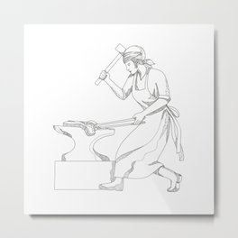 Female Blacksmith at Work Doodle Art Metal Print