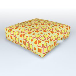 Yellow Orange Pattern Outdoor Floor Cushion