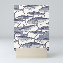 Atlantic fish blue Mini Art Print