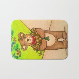 FLOWERS FOR YOU - Adorable Little Teddy Bear Flowers Floral Cute Colorful Original Illustration Bath Mat