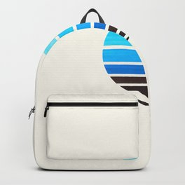 Cerulean Blue Minimalist Mid Century Modern Watercolor Stripes Sunset Circle Abstract Pattern Backpack