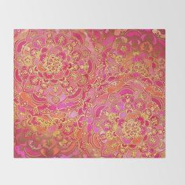 Hot Pink and Gold Baroque Floral Pattern Throw Blanket