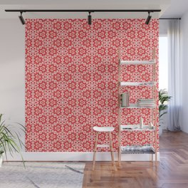 Red Pink and White Mini Mandala Abstract Flowing Floral Dotted Spirit Organic Wall Mural