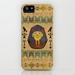 Egyptian Sphinx Ornament on papyrus iPhone Case