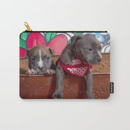 Cute Brother and Sister Pitbull Puppies with Blue Eyes Cuddling Together in a Spring Basket Carry-All Pouch