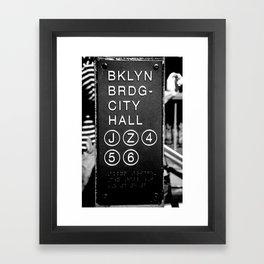 Brooklyn Bridge Subway Sign Framed Art Print