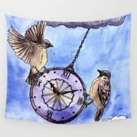 wall clock Wall Tapestries featuring Clock by Anna Shell