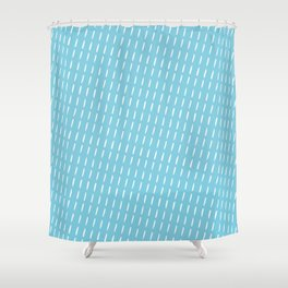 Blue primitive pattern with stripes Shower Curtain