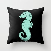 sea horse Throw Pillows featuring SEA HORSE by Matthew Taylor Wilson