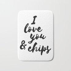 I love you & chips Bath Mat