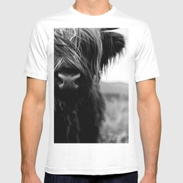 Scottish Highland Cattle Baby - Black and White Animal Photography T-shirt