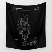nasa Wall Tapestries featuring NASA Space Suit Patent - White on Black by Elegant Chaos Gallery