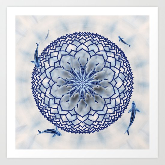 8 Koi Lotus Mandala in Blue Art Print