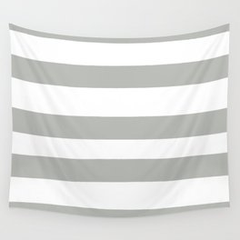 Inspired by Benjamin Moore Metropolitan Gray AF-690 Hand Drawn Fat Horizontal Lines on White Wall Tapestry