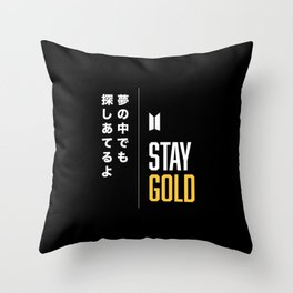 BTS Bangtan Sonyeondan Stay Gold Throw Pillow