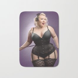 """Help Me With These Laces?"" - The Playful Pinup - Curvy Corset Pinup Girl by Maxwell H. Johnson Bath Mat"