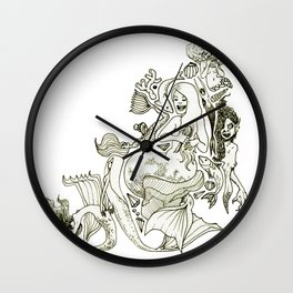Mermaids (Wonderful Mess Series) Wall Clock