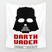 8 bit Wall Tapestries featuring 8-bit Darth Vader by Sylwia Borkowska