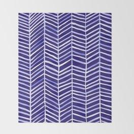 Herringbone – Navy & White Throw Blanket