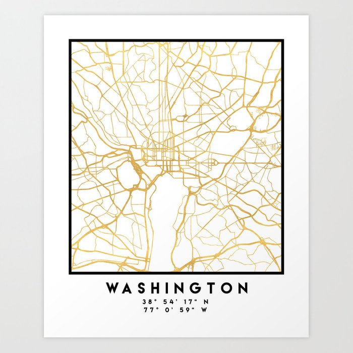 WASHINGTON D.C. DISTRICT OF COLUMBIA CITY STREET MAP ART Kunstdrucke