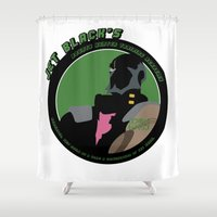 cowboy bebop Shower Curtains featuring Bebop Jet by AngoldArts