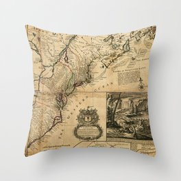 Map of North America (British Colonies) 1731 Throw Pillow