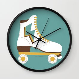 Retro Lightning Skate- White and Teal Wall Clock