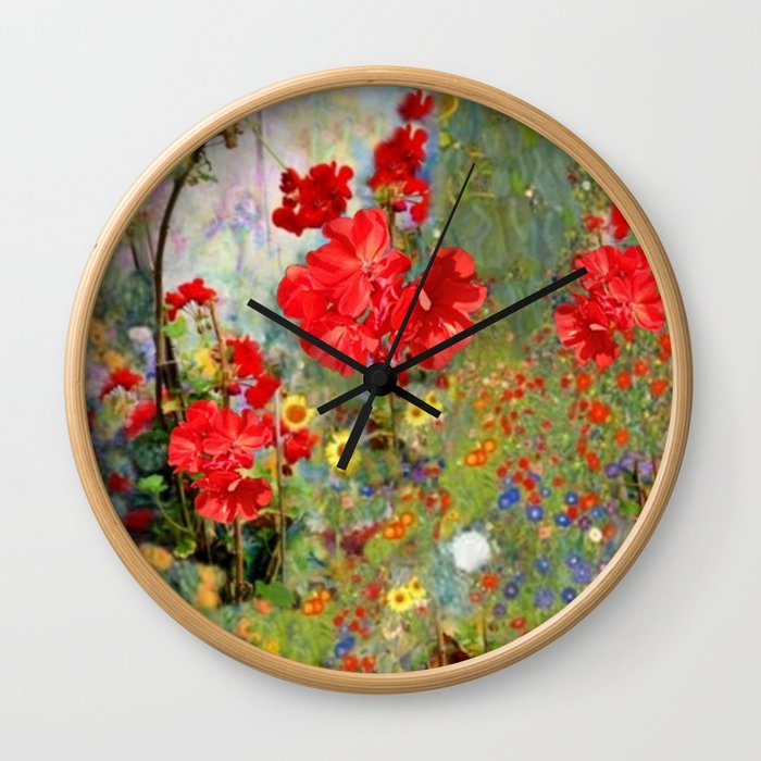 Red Geraniums in Spring Garden Landscape Painting Wall Clock