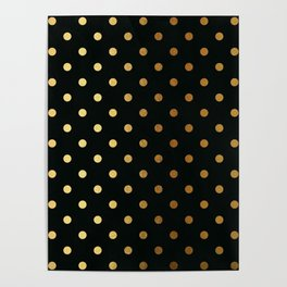 Gold polka dots on black pattern Poster