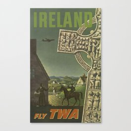 Ireland, Fly TWA - Vintage Ireland Travel Poster Canvas Print