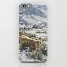 Wild cow at the mountains. Snowing. Slim Case iPhone 6