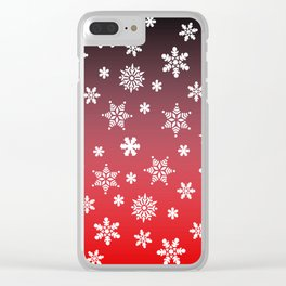 Snow Flurries-Red/Black Ombre Clear iPhone Case