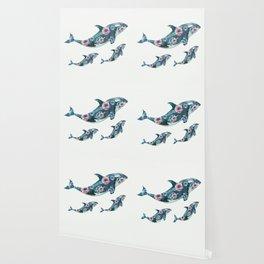 Rose Garden Whales Wallpaper