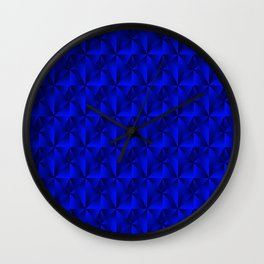 Intersecting bright blue rhombs and black triangles with square volume. Wall Clock