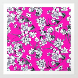 Modern neon pink black white abstract floral Art Print