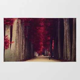 Red colors of autumn, surreal photo, red trees, alley in a park Rug