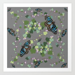 2941-Australian-Native-Violet-and-Blue-Butterfly Grey Art Print